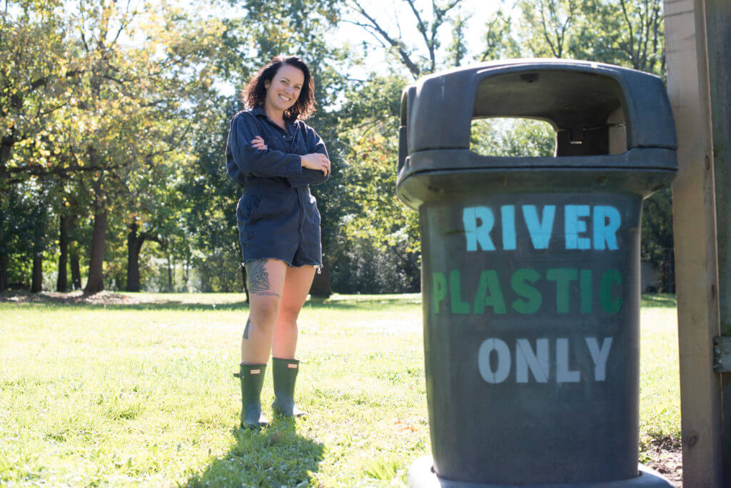 Williams collects hard plastics, part of the national American Rivers program.
