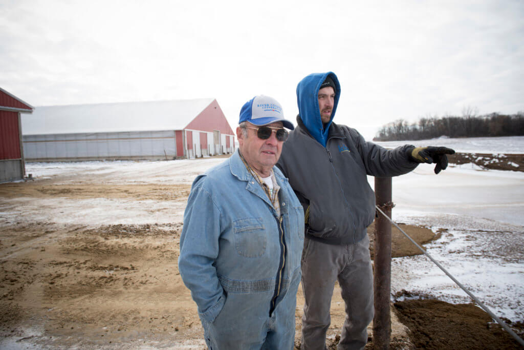 Wayne and Kevin Kieffer check out the results of their water and soil conservation efforts.