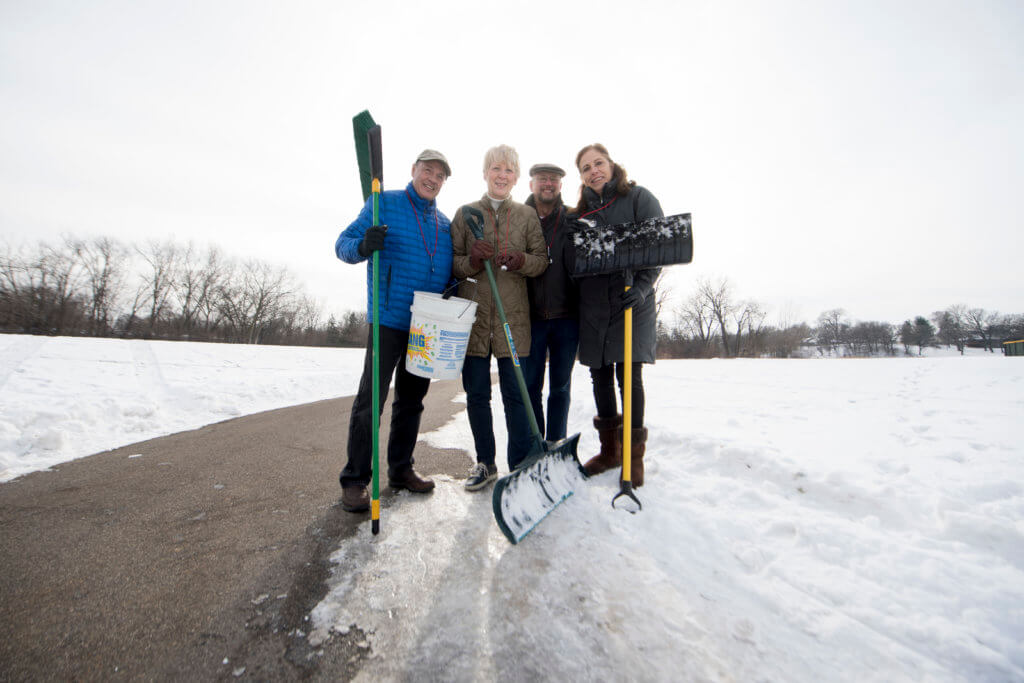 Randy Holst, me, Walter Levesque, Louann Waddick avoid road salt use altogether by shoveling!