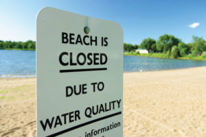 Sign: Beach closed due to water quality