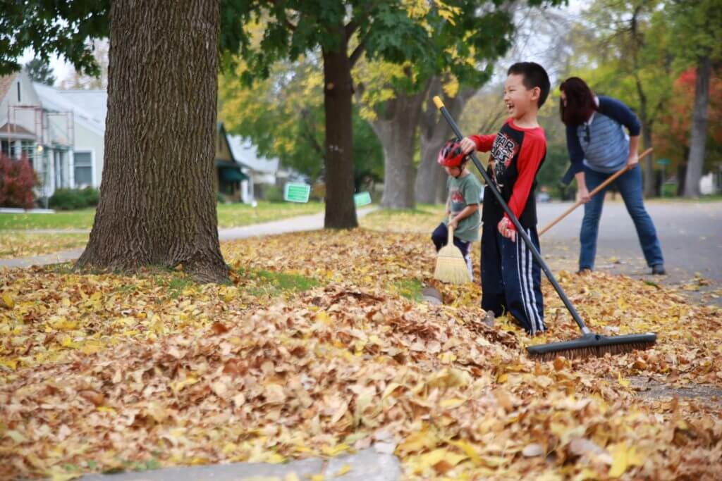 Neighbors sweep leave from streets and sidewalks.