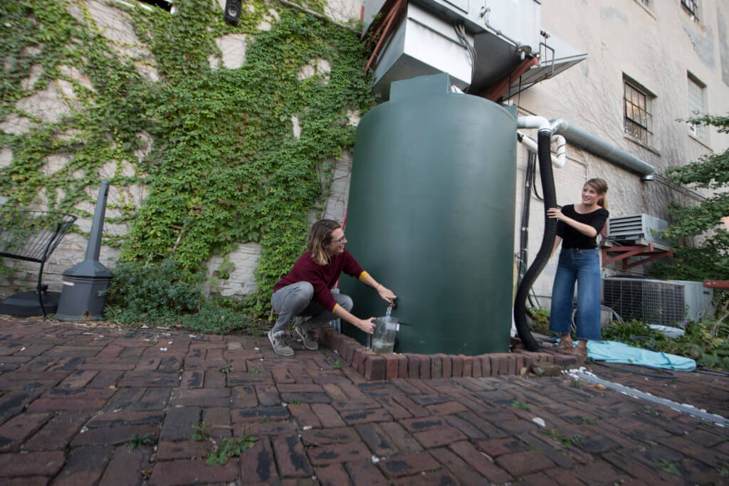 Faust and Maurer redirect collected water to a series of rain gardens at the T. Rex. Cookie and Coffee Restaurant in St. Paul.