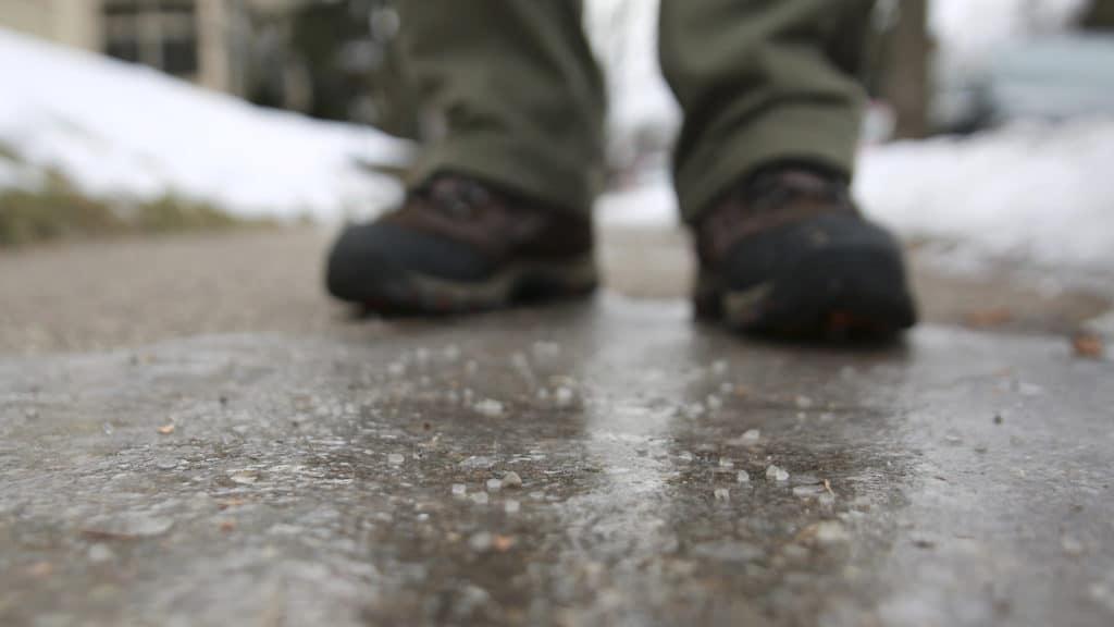 Excess sidewalk salt